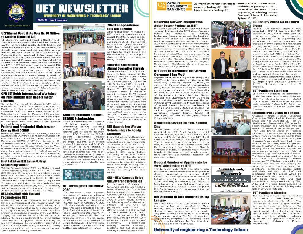 UET Newsletter Sep-Oct 2020